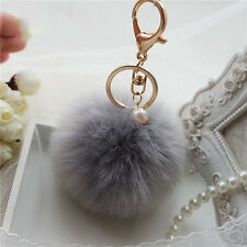 f3c2230fcb0 Pendant Handbag Chic Key Ring Rabbit Fur Ball PomPom Cell Phone Car Keychain