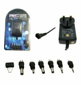 Power Supply 600mAh AC-DC Transformer Adapter With Multi Voltage Plugs 3V-12V UK