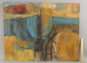 Vintage 1961 JOAN HOPKINS Mid-Century Abstract Landscape Painting NR