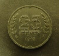 1943 NETHERLANDS 25 CENTS   Foreign Coin