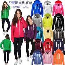 Ladies Fleece PLAIN ZIP HOODIE Plus Size Zipper Sweatshirt Jacket Small-XXXXXXXL