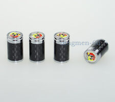 4Pcs Car Wheel Accessories Carbon Fiber Tire Valve Stems Caps Logo For Abarth