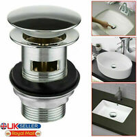 BASIN SINK TAP WASTE PLUG CHROME CLICK CLACK BATHROOM PUSH BUTTON POP UP SLOTTED
