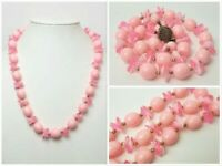 Vintage Chunky Translucent Pink Lucite Flower Petal Bead Necklace Mid Century