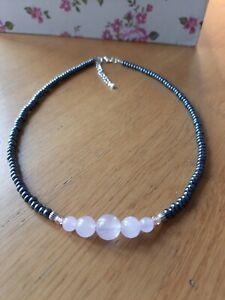 Pink Rose Quartz & black glass beaded necklace ~  hippy love beads ~ Reiki