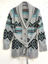 NEU schicke kuschelige lange Umstands Grobstrick Jacke in grau bunt Gr.40/42