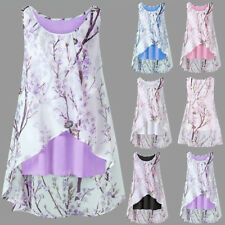 UK Plus Size Womens Casual Chiffon Floral Vest Blouse Ladies Summer T Shirt Tops