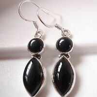 Black Onyx Marquise Round Double Gem 925 Sterling Silver Dangle Earrings