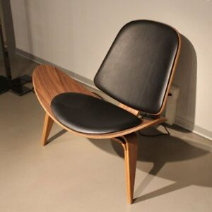 Mid-Century Wegner Style Replica Shell Chair Walnut Black Leather Cowhide Chair