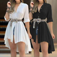 Women 3/4 Sleeve Jersey Tunic Top Blouse Ladies Loose Mini Swing Dress PLUS SIZE