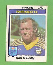 1980  PARRAMATTA EELS   SCANLENS RUGBY LEAGUE  CARD #122  BOB O'REILLY, DAMAGED