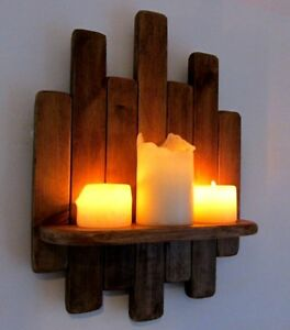 34CM RECYCLED RUSTIC WOOD FLOATING SHELF / LED CANDLE HOLDER WALL SCONCE