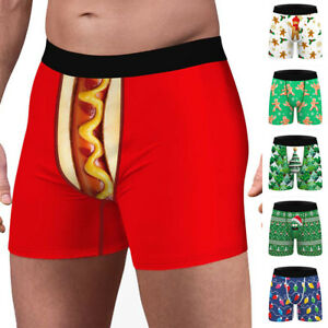 Mens Christmas Xmas Funny Print Underpants Shorts Briefs Boxers Trunks Underwear