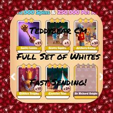 Coin Master Knights Set (All X5 Whites) Lance,Squire,Camp,Tent, Etc..(Fast Send)