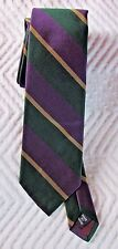"Polo Ralph Lauren Green Gold Purple Repp Silk Tie 3""  VGC"