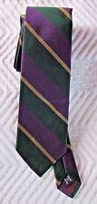 """Polo Ralph Lauren Green Gold Purple Repp Silk Tile 3"""" Wide VGC"""