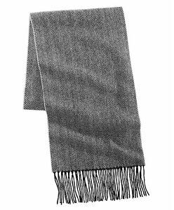 Club Room Mens Scarves Gray Black One Size Herringbone Fringe-Trim $120 193