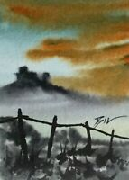 ACEO ATC original art miniature painting ' Castle on the Hill ' by Bill Lupton
