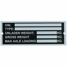 Trailer Blank Vin & Weight Chassis Plate 120mm x 45mm Idenfication Number