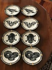 "Williams Sonoma HALLOWEEN Oval Plate Set of (8) SKULL/BATS/RAVEN/SNAKE 8.25""x7"""