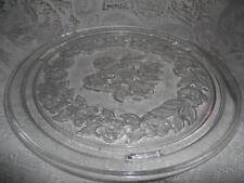 Vntg Crystal Pressed Glass Intaglio Pansy Flower 3-Ftd Cake Plate Saver Carrier