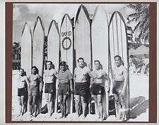 "Kahanamoku Friends/Brother 1927? Waikiki Hand Printed Photo On 8X10"" Mat Board"