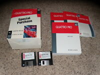 """Quattro Pro 4.0 DOS Version 3.5"""" floppy disks with pictured manuals and box"""