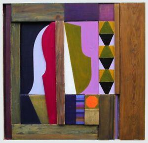 abstract contemporary relief sculpture, modern original mixed media work