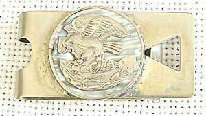 Mexico art deco alpaca money clip with silver coat of arms of Mexico on abalone
