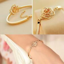 Cuff Chain Crystal Bracelet Bangle Rose Flower Gold Filled
