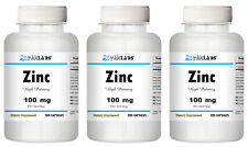 ZINC - 100 mg 100mg Serving Immune Support High Potency Big Bottles 120-600 Caps