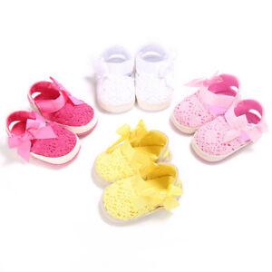Infant Baby Girl Summer Sandals Soft Bottom Newborn Bow Braided Crib Flat Shoes