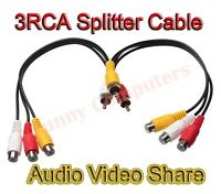 3RCA Male Jack to 6 RCA Female Plug Splitter Audio Video AV TV DVD Adapter Cable