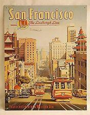 Classic Repro TWA The Lindbergh Line Metal Sign Wall Art Poster Ad San Francisco