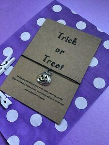 Halloween Wish Bracelet, Pumpkin String Bracelet, Halloween party bag filler