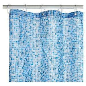 Croydex Blue Swimming Pool Mosaic Textile Shower Curtain with Hygiene 'N' Clean
