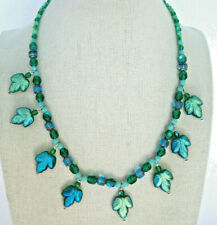 Vintage Art Glass Bead Necklace Iridescent Blue Green Leaves Barrel Clasp 17""