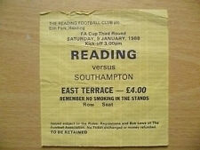 Tickets Stubs: 1988 FA Cup Third RD- READING v SOUTHAMPTON