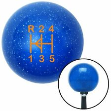 Orange Shift Pattern 46n Blue Metal Flake Shift Knob with M16x1.5 insert bbs
