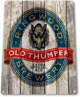 Old Thumper Ringwood Brewery Beer Retro Bar Man Cave Wall Decor Metal Tin Sign