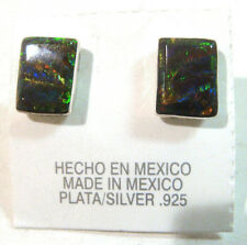 TAXCO .925 Sterling Silver Opal Earrings Handcrafted from Mexico