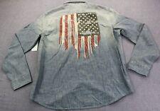 RALPH LAUREN Mens CHAMBRAY BLUE BLEACHED HUGE USA FLAG & EAGLE SHIRT NWT L $125