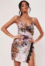 Missguided Petite Pink Floral Leopard Print Cami Mini Dress Satin Touch Size Uk4