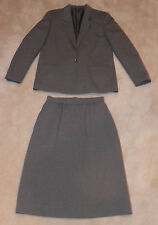 Fashion Star 2-Piece Suit Outfit Jacket Size 10 Skirt Size 12 Gray Red Pinstripe