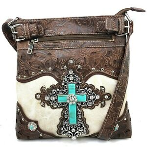 Large Turquoise Rhinestone Cross Women Western Conceal Carry Messenger Bag