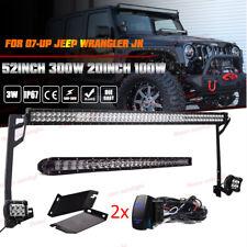 """For 07-17 Jeep Wrangler JK 52Inch 300W+20"""" Hood LED Light Bar+Mount Bracket Kit"""