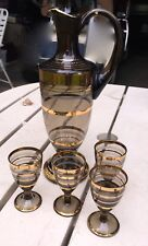 VINTAGE MID CENTURY 6 PIECE DECANTER SET - CRYSTAL