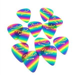 Fender Guitar Picks 12 Pack Celluloid Medium Rainbow