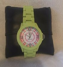 Timepieces by Randy Jackson SPORT Round LIME Multicolor Dial SWISS Watch NEW