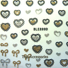 3D Sparkly Heart/Bows Shaped  Design Nail Art Decals Stickers #07067G-C Free P&P